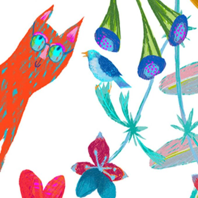 Cat and Bird Print